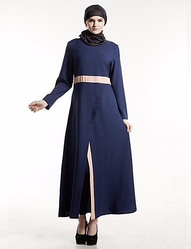 Damen Abaya Kleid-Alltag Solide Rundhalsausschnitt Maxi Langarm Andere Ganzjährig Hohe Taillenlinie Unelastisch Mittel
