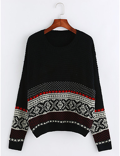 Damen Festtage Boho Langarm Pullover - Gestreift / Herbst / Winter