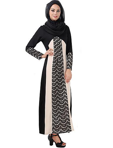 Damen Abaya Kleid-Lässig/Alltäglich Einfarbig Rundhalsausschnitt Maxi Langarm Polyester Winter Mittlere Hüfthöhe Dehnbar Mittel