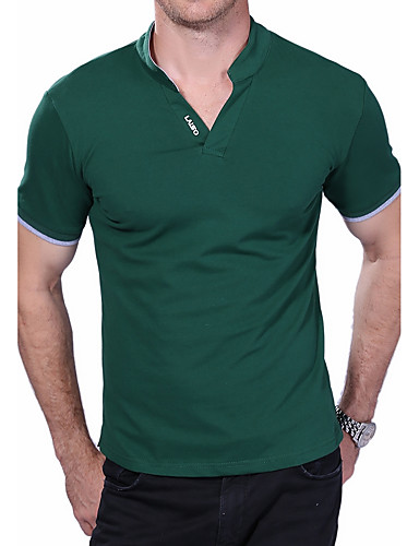 f933a1a94484e Men s Active Plus Size Cotton Slim Polo - Solid Colored Stand   Short Sleeve