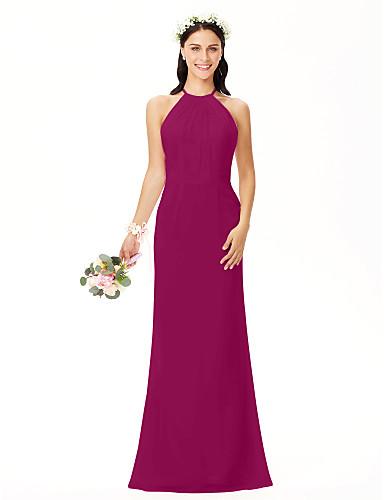 abordables Vestidos de Dama de Honor-Funda / Columna Joya Hasta el Suelo Raso Vestido de Dama de Honor con Plisado por LAN TING BRIDE®