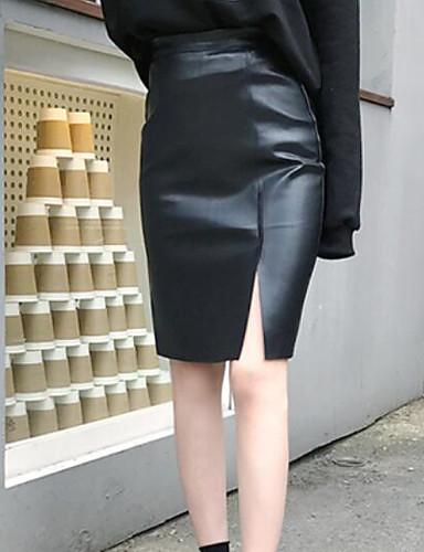 Damen Ausgehen Über dem Knie Röcke einfarbig Winter Frühling