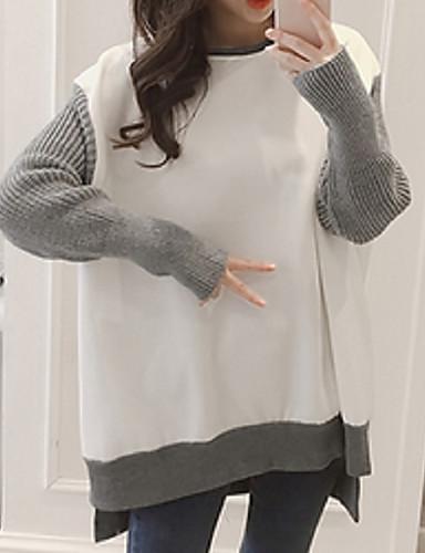 Damen Pullover Festtage Lässig/Alltäglich Solide Mikro-elastisch Acryl Polyester Herbst