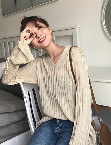 Damen Standard Pullover-Lässig/Alltäglich Einfach Solide V-Ausschnitt Langarm Acryl Herbst Mittel Mikro-elastisch