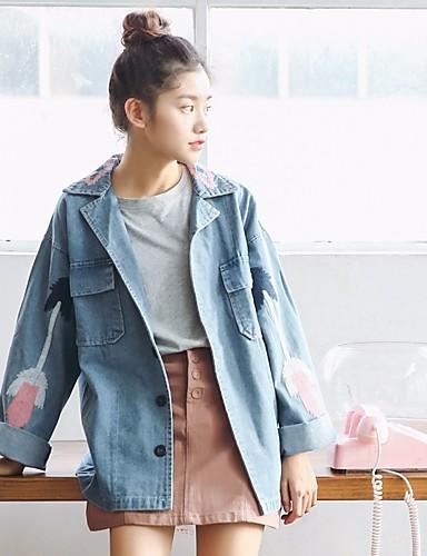 Damen Solide Einfach Ausgehen Jeansjacke Herbst Winter Standard Baumwolle Polyester