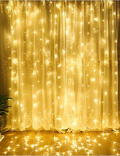 povoljno Rasvjeta-zdm 1pc vodio zavjesu niz lampu 3 * 3 m 300 vodio Božić na otvorenom vodootporan festival vjenčanje ukrasna zavjesa višebojna / topla bijela / hladno bijela / plava eu ac220v / us ac110v