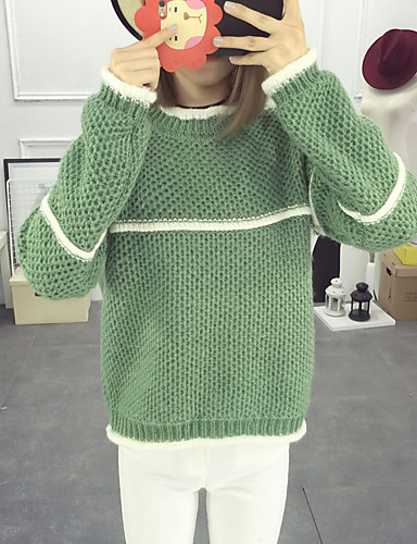 Damen Standard Pullover-Lässig/Alltäglich Solide Rundhalsausschnitt Langarm Baumwolle Herbst Mittel Mikro-elastisch