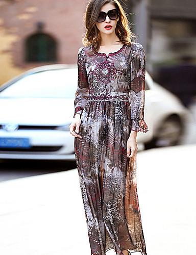 Damen Swing Kleid-Ausgehen Lässig/Alltäglich Druck Rundhalsausschnitt Maxi Langärmelige Polyester Frühling Herbst Mittlere Hüfthöhe
