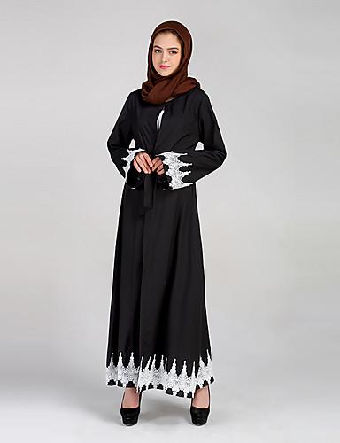 Damen Dschallabija Kleid-Party Lässig/Alltäglich Einfach Retro Solide Patchwork Rundhalsausschnitt Maxi Langarm Polyester Andere