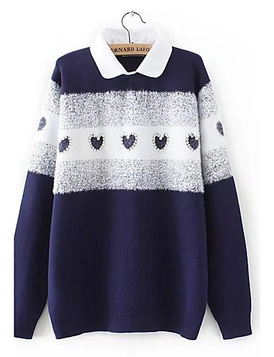 Damen Standard Pullover-Ausgehen Lässig/Alltäglich Solide Hemdkragen Langarm Baumwolle Andere Mittel Dick Mikro-elastisch