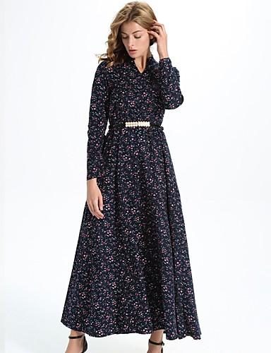 Damen Hülle Kleid-Alltag Blumen Rundhalsausschnitt Maxi Langärmelige Polyester Alle Jahreszeiten Mittlere Hüfthöhe Mikro-elastisch