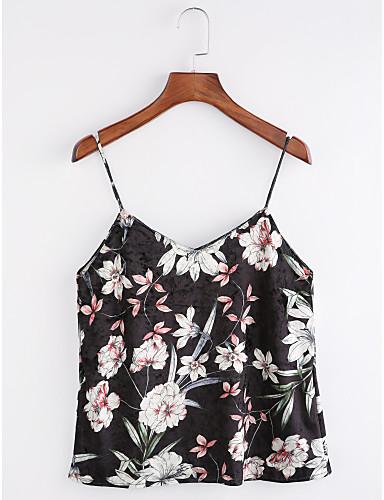 Damen Blumen Anspruchsvoll Lässig/Alltäglich Tank Tops,Gurt Herbst Ärmellos Polyester Mittel