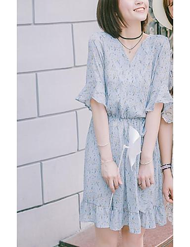 Damen A-Linie Kleid-Ausgehen Lässig/Alltäglich Blumen V-Ausschnitt Übers Knie Kurzarm Baumwolle Sommer Hohe Hüfthöhe Mikro-elastisch