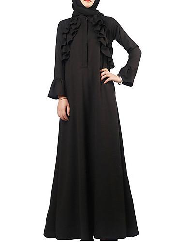 Damen Alltag Ausgehen Abaya Maxi Kleid Solide Rundhalsausschnitt Langarm