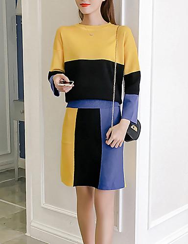 Damen Einfarbig Aktiv Ausgehen Lässig/Alltäglich Pullover Rock Anzüge