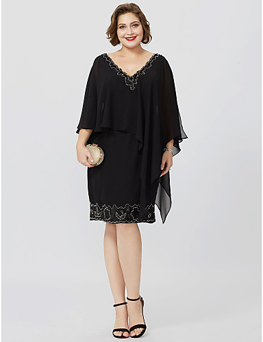 Sheath / Column V Neck Knee Length Chiffon Mother of the Bride Dress with Beading / Crystals by LAN TING BRIDE®