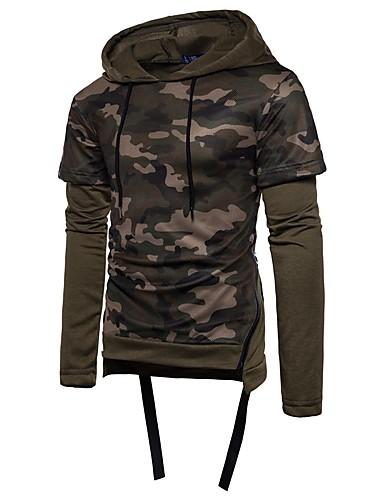 Męskie Vintage Sport Bluza z Kapturem - kamuflaż, Wycięcia Kaptur