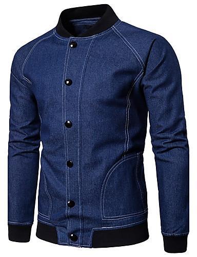Herren Solide Einfach Ausgehen Lässig/Alltäglich Jacke,Ständer Frühling Herbst Langarm Standard Baumwolle