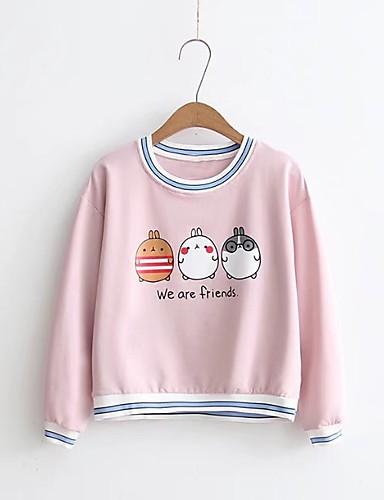 Damen Pullover Ausgehen Lässig/Alltäglich Niedlich Aktiv Solide Druck Mikro-elastisch Baumwolle