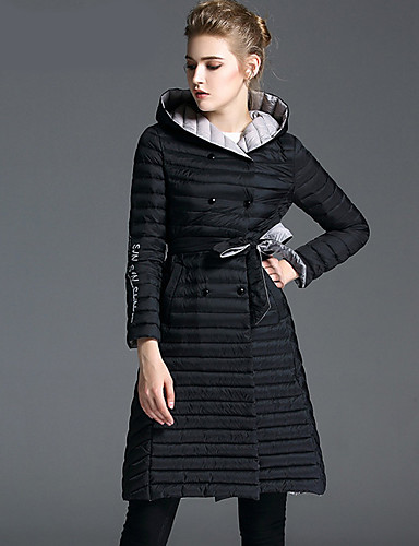 Damen Daunenjacke Mantel Einfach Ausgehen Solide-Polyester Langarm