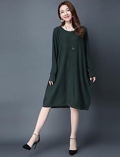 Damen Ausgehen Baumwolle Tunika Kleid Solide Knielang