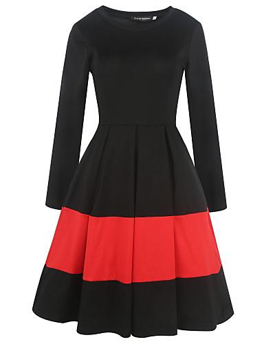 Damskie Praca Pochwa Sukienka swingowa Sukienka - Patchwork Wysoki stan