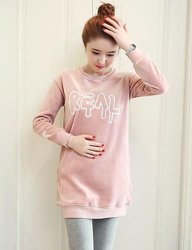 Damen Pullover Lässig/Alltäglich Solide Buchstabe Baumwolle Polyester