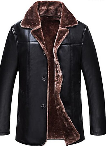 Kožené bundy Normalny Męskie Moda miejska Zima Codzienny Kołnierzyk koszuli Jendolity kolor Faux Leather
