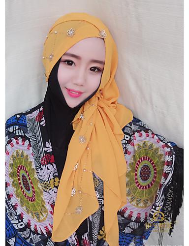 Damen Frühjahr, Herbst, Winter, Sommer Kunstseide Hidschab,Perle Schwarz Rote Rosa Kamel Gelb
