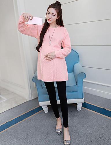 Damen Pullover Lässig/Alltäglich Solide Baumwolle Polyester