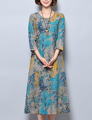 Women's Chinoiserie Loose Dress - Floral Blue, Print / Summer