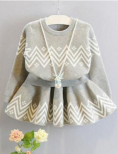 Komplet odzieży Bawełna Dla dziewczynek Żakard Zima Wiosna Długi rękaw Urocza Gray
