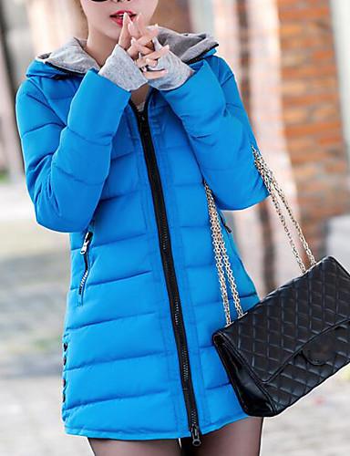 Damen Daunenjacke Mantel Einfach Lässig/Alltäglich Solide-Baumwolle Polyester Baumwolle Langarm