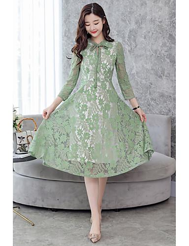 Damskie Wyjściowe Moda miejska Pochwa Sukienka - Solidne kolory W serek Midi