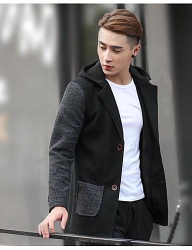 Herrn - Einfarbig Koreanisch Lang Jacke