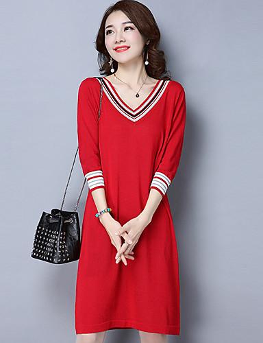 Damen Strickware Kleid-Alltag Solide V-Ausschnitt Midi Langarm Kunstseide Winter Herbst Mittlere Taillenlinie strenchy Mittel
