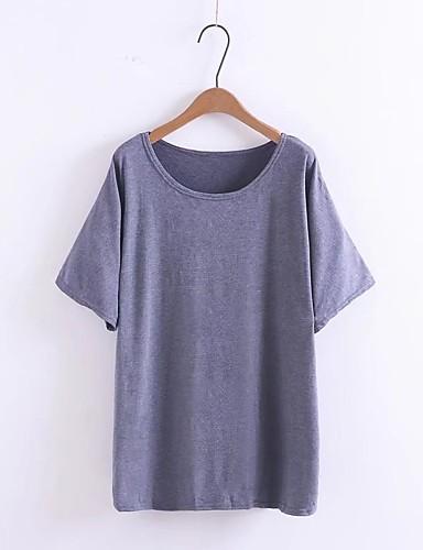 Damen Solide Lässig/Alltäglich Ausgehen T-shirt,Rundhalsausschnitt Kurzarm Baumwolle Andere Mittel Dünn