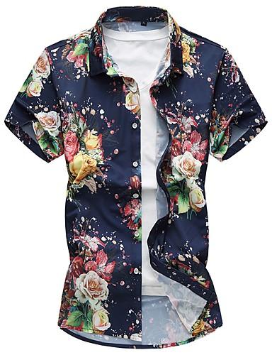 Rozmiar plus Koszula Męskie Wzornictwo chińskie Kwiaty Bawełna