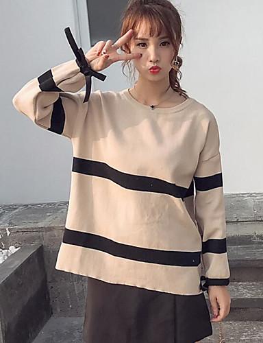Damen Standard Pullover-Lässig/Alltäglich Gestreift Rundhalsausschnitt Langarm Baumwolle Mittel Mikro-elastisch
