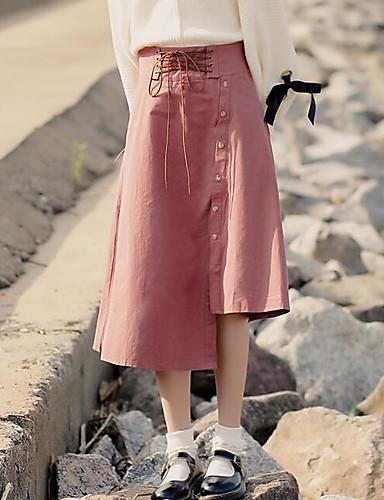 Damen Street Schick Lässig/Alltäglich Asymmetrisch Röcke einfarbig Herbst