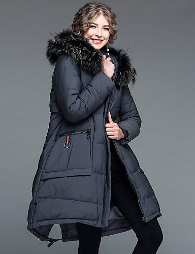 Damen Daunenjacke Mantel,Lang Street Schick Ausgehen Lässig/Alltäglich Solide-Polyester Nylon Langarm