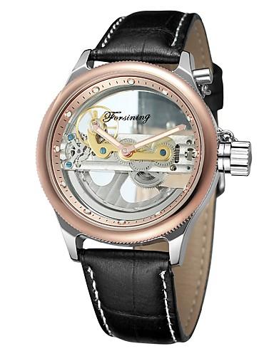 Męskie Nakręcanie automatyczne Zegarek na nadgarstek Hollow Grawerowanie Skóra Pasmo Vintage Na co dzień Do sukni / garnituru Modny Czarny