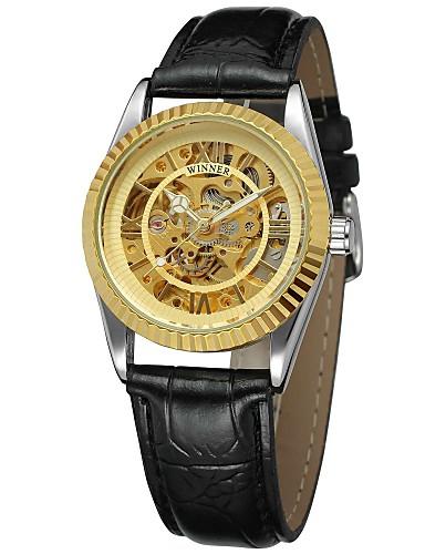 WINNER Damskie Nakręcanie automatyczne zegarek mechaniczny Zegarek na nadgarstek Hollow Grawerowanie Skóra Pasmo Luksusowy Vintage Na co