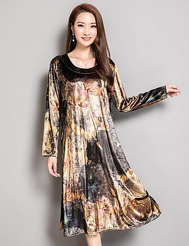 Damen A-Linie Kleid-Ausgehen Blumen U-Ausschnitt Midi Langarm Baumwolle Hohe Taillenlinie Unelastisch Mittel