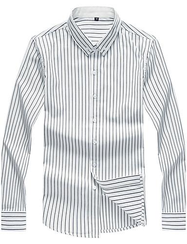 Herren Gestreift Chinoiserie Lässig/Alltäglich Übergröße Hemd,Hemdkragen Langarm Baumwolle Elasthan Mittel