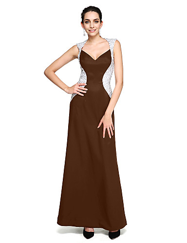 cheap Evening Dresses-Sheath / Column Queen Anne Floor Length Stretch Satin Color Block Cocktail Party / Prom / Formal Evening Dress with Beading by TS Couture®