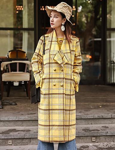 Damen Verziert Einfach Freizeit Alltag Ausgehen Mantel,Hemdkragen Winter Herbst Langarm Lang Polyester