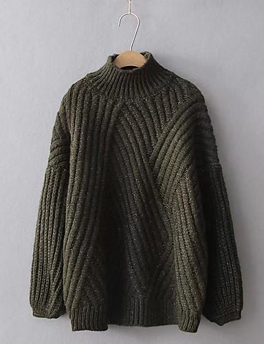Damen Standard Pullover-Ausgehen Lässig/Alltäglich Solide Ständer Langarm Kaninchen-Pelz Baumwolle Andere Dünn Mittel Mikro-elastisch
