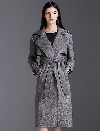 Damen Solide Einfach Freizeit Alltag Trench Coat Winter Herbst Standard Polyester