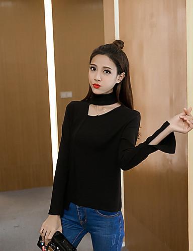Damen Standard Pullover-Lässig/Alltäglich Einfach Solide V-Ausschnitt Langarm Baumwolle Mittel Mikro-elastisch